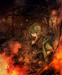 bandages belt final_fantasy final_fantasy_xi fire fujiwara_akina green_hair pointy_ears staff tarutaru violet_eyes wand
