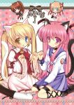 ahoge angel_beats! animal animal_ears blonde_hair blush bow brown_hair cat cat_ears cat_tail choker company_connection crossover crown fang frills green_eyes hair_ornament heterochromia kamikita_komari key_(company) kneeling little_busters! long_hair long_sleeves multiple_girls nakatsu_shizuru natsume_rin no_eyepatch open_mouth pantyhose pink_eyes pink_hair ponytail puffy_sleeves red_eyes rewrite school_uniform shira_ichigo_(ichigohou) short_hair smile sweater tail twintails two_side_up very_long_hair white_legwear wide_sleeves yellow_eyes yui_(angel_beats!)