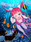 barefoot bikini blue_eyes fish freediving long_hair pearl ponytail red_hair redhead solo starfish swimming swimsuit treasure_chest umi_monogatari underwater urin_(umi_monogatari) uzura_lala wink