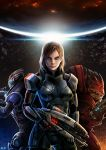 bail commander_shepard_(female) garrus_vakarian green_eyes gun highres mass_effect red_hair redhead short_hair urdnot_wrex weapon