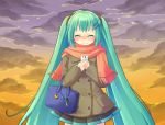 blush cellphone closed_eyes cloud clouds coat eyes_closed green_hair hair_ornament hairclip hands_on_own_chest hatsune_miku long_hair moriya_ako phone pleated_skirt scarf skirt solo sunset twintails very_long_hair vocaloid wavy_mouth