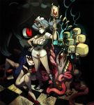 +_+ alex_ahad bandage blonde_hair blood bloody_marie_(skullgirls) blue_hair blush bone breasts cleavage cross crown curvy dark_skin double_(skullgirls) dual_persona eldritch_abomination entrails extra_legs eyepatch eyes floating_skull frown gloves habit hair_ornament hair_over_one_eye hat hips intravenous_drip large_breasts long_hair looking_at_viewer maid maid_headdress mask minidress multiple_girls mutant nun nurse nurse_cap organs ponytail red_cross red_eyes short_hair size_difference skull skull_hair_ornament skullgirls standing surgical_mask symbol-shaped_pupils teeth tentacle twintails valentine_(skullgirls) veins weapon white_eyes white_gloves white_hair wide_hips