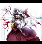 ascot blonde_hair blood bloody_tears flandre_scarlet hat lastdark letterboxed long_hair open_mouth red_eyes ribbon side_ponytail skirt skirt_set skull smile solo star touhou wings