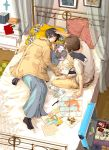 axis_powers_hetalia bed bottle brown_hair cat closed_eyes coat cookie eyes_closed food greece_(hetalia) greece_(nekotalia) japan_(hetalia) japan_(nekotalia) japanese_clothes map multiple_boys namino_kokoro pen pillow sleeping suitcase water_bottle