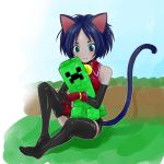 :3 animal_ears aqua_eyes black_legwear blue_eyes cat_ears cat_tail creeper ears minecraft original smile tail thigh-highs thighhighs
