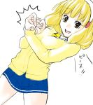 blonde_hair blush female hairband kise_yayoi open_mouth ponytail precure short_hair skirt smile smile_precure! solo sweatdrop yasuda_suzuhito yellow_eyes you're_doing_it_wrong you're_doing_it_wrong