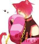 animal_ears boris_airay cat_ears chain chains collar earrings feather_boa fingerless_gloves gloves hair_over_one_eye heart_no_kuni_no_alice jewelry piercing pink_hair pixiv_thumbnail short_hair tail yellow_eyes
