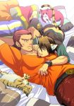 animal_ears antonio_lopez bed bracelet brown_eyes brown_hair cat cat_ears chest_hair dark_skin facial_hair green_eyes jewelry kaburagi_t_kotetsu kemonomimi_mode kreuz961 multiple_boys pillow stubble tiger_&_bunny vest waistcoat watch wristwatch