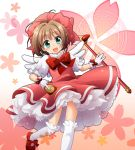 brown_hair card card_captor_sakura cardcaptor_sakura clow_card dress fuuin_no_tsue gloves green_eyes kinomoto_sakura magic_circle manami_tatsuya short_hair solo twintails wand wings