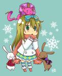 alice_liddell animal blonde_hair boots boris_airay bow bunny cat chibi coat dress earrings elliot_march feather_boa glasses green_eyes heart_no_kuni_no_alice jewelry long_hair mouse peter_white pierce_villiers piercing rabbit scarf socks striped striped_socks tattoo