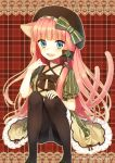 :d animal_ears black_legwear blue_eyes blush bow cat_ears cat_tail dress hat hat_bow heart midorikawa_you multiple_tails open_mouth original panties panties_under_pantyhose pantyhose pink_hair sitting smile solo tail underwear watermark web_address white_panties