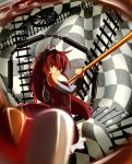 bare_shoulders blurry chain chains depth_of_field frown hair_ribbon highres long_hair magical_girl mahou_shoujo_madoka_magica polearm ponytail red_eyes red_hair redhead ribbon sakura_kyouko solo spear suno-pi weapon witch's_labyrinth witch's_labyrinth