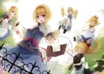 :d alice_margatroid apron belt blonde_hair blue_eyes book bow clarinet dutch_angle flute flying goliath_doll hair_bow hairband holding instrument looking_at_viewer nanahara_fuyuki open_book open_mouth playing_instrument ponytail shanghai shanghai_doll short_hair smile solo thigh-highs thighhighs touhou trumpet violin waist_apron white_legwear