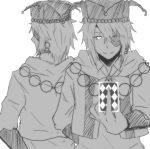 amaimonn back-to-back bowtie card earrings eyepatch greyscale hat heart_no_kuni_no_alice holding holding_card jewelry joker_(kuni_no_alice) long_sleeves monochrome multiple_boys short_hair smile