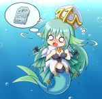 aqua_hair artist_request blue_hair breasts chibi cleavage green_hair had hat long_hair mermaid monster_girl monster_girl_encyclopedia nawiria nawiria_vire o_o sea_bishop solo stone_tablet underwater