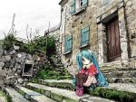 aqua_hair blue_eyes hatsune_miku long_hair mojacookie pantyhose sitting solo stairs twintails very_long_hair vocaloid young