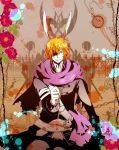 3boys alice_liddell animal_ears axe bandage bandages belt blood bunny_ears chain chains clock coat cup elliot_march flower grin heart_no_kuni_no_alice hirota_yoda long_hair long_sleeves multiple_boys orange_hair purple_eyes rabbit_ears scarf siblings smile teacup tweedle_dee tweedle_dum twins violet_eyes weapon