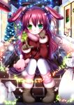 ahoge animal_ears bag blue_eyes blush bow brick_wall bunny_ears christmas_tree gloves green_eyes hair_bow heterochromia highres long_hair looking_at_viewer original pantyhose rabbit_ears red_hair redhead sack scarf shitou sitting smile snowing solo white_legwear