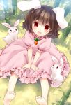 :d animal_ears barefoot black_hair blush brown_hair bunny bunny_ears carrot child dress inaba_tewi looking_at_viewer open_mouth rabbit rabbit_ears red_eyes short_hair sitting smile soles solo toes torii_sumi touhou