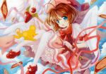 brown_hair card card_captor_sakura cardcaptor_sakura clow_card dress fuuin_no_tsue gloves green_eyes kero kinomoto_sakura short_hair thigh-highs thighhighs wand wings yutsuka_(amyucca)