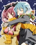 alternate_costume blue_hair blush bow closed_eyes coat covered_mouth eyes_closed gloves hair_ribbon hug hug_from_behind leaning_on_person long_hair long_sleeves mahou_shoujo_madoka_magica mesushirindaa miki_sayaka multiple_girls red_eyes red_hair redhead ribbon sakura_kyouko scarf short_hair smile winter_clothes