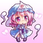 blue_dress butterfly chibi dreamcast dress ghost gradient gradient_background hand_on_own_cheek hat long_sleeves lowres open_mouth pink_eyes pink_hair ryogo saigyouji_yuyuko sash short_hair solo touhou triangular_headpiece veil wide_sleeves