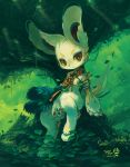 animal_ears armor cloth creature dated extvia forest fur green lagomorph leaf nature no_humans original pawpads paws rabbit sitting smile solo tail tree water yellow_eyes
