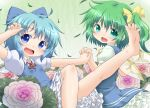 barefoot blue_eyes blue_hair bow cirno daiyousei dress feet flower green_eyes green_hair hair_bow hair_ribbon hand_holding holding_hands leg_up multiple_girls natsu_no_koucha neck_ribbon open_mouth ribbon short_hair side_ponytail smile soles spread_toes toes touhou wings