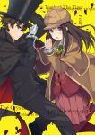 1girl black_hair brown_hair cape chitanda_eru costume cuffs detective green_eyes handcuffs hat hyouka kimi_ni_matsuwaru_mystery long_hair minaseyu_no oreki_houtarou pantyhose purple_eyes top_hat tuxedo violet_eyes