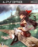 atelier_(series) bare_shoulders black_hair blush brick_wall brown_eyes cover cup detached_sleeves game_cover hair_tubes hakurei_reimu half_updo holding light_particles long_hair newhonpo ruins sitting skirt solo sunbeam sunlight thigh-highs thighhighs touhou white_legwear wind