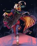 blonde_hair cape cefca_palazzo clown facepaint feathers final_fantasy final_fantasy_vi high_heels highres jewelry lipstick looking_back makeup nail_polish nshi pale_skin pantyhose pointy_ears ring shoes single_glove smile solo