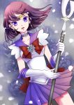 absurdres bishoujo_senshi_sailor_moon blue_background bow brooch choker dress dutch_angle earrings floral_background gloves highres jewelry magical_girl megumi_choco pleated_skirt polearm purple_dress purple_eyes purple_hair ribbon sailor_collar sailor_saturn short_hair silence_glaive skirt solo spear tiara tomoe_hotaru violet_eyes weapon