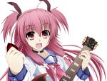 angel_beats! colored fang guitar highres instrument koshi-kun long_hair open_mouth purple_eyes purple_hair school_uniform serafuku solo violet_eyes yui_(angel_beats!)