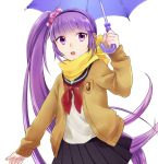 purple_hair scarf scrunchie side_ponytail skirt solo sophie_(tales_of_graces) tales_of_(series) tales_of_graces umbrella