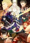 assassin_(fate/zero) berserker_(fate/zero) book caster_(fate/zero) command_spell dress emiya_kiritsugu everyone excalibur fate/zero fate_(series) female_assassin_(fate/zero) gae_dearg gilgamesh glowing glowing_sword glowing_weapon gun highres irisviel_von_einzbern kayneth_archibald_el-melloi kotomine_kirei lancer_(fate/zero) matou_kariya nozo_(hibi_tsurezure) polearm prelati's_spellbook prelati's_spellbook rider_(fate/zero) saber spear thompson_contender tohsaka_tokiomi toosaka_tokiomi uryuu_ryuunosuke waver_velvet weapon