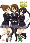 3girls arm_hug black_hair brown_eyes brown_hair bunny hirasawa_ui hirasawa_yui iena k-on! long_hair multiple_girls nakano_azusa pantyhose ponytail rabbit school_uniform short_hair turtle twintails