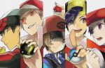 alternate_costume alternate_headwear column_lineup gold_(pokemon) great_ball hat holding holding_poke_ball kouki_(pokemon) multiple_boys poke_ball pokemon pokemon_(game) pokemon_bw pokemon_dppt pokemon_frlg pokemon_hgss pokemon_rse red_(pokemon) red_(pokemon)_(remake) santou_suihei touya_(pokemon) ultra_ball yuuki_(pokemon)