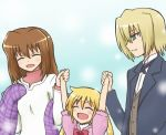 2girls blonde_hair brown_hair butler closed_eyes eyes_closed family hand_holding hayate_no_gotoku! hayek_shin holding_hands kurotsubaki_(blue2p) long_hair multiple_girls sanzen'in_nagi sanzen'in_yukariko sanzen'in_nagi sanzen'in_yukariko shawl short_hair tuxedo twintails