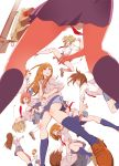 fighting flying_kick highres kicking kneehighs mebae multiple_girls necktie original punching school_uniform sleeves_rolled_up traffic_light