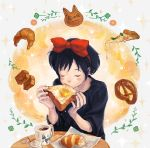 black_hair blush_stickers bread bread_in_mouth butter cat closed_eyes croissant cup eating egg eyes_closed food hair_ribbon hairband highres kiki leaf majo_no_takkyuubin omiso_(n0m) pizza ribbon solo studio_ghibli table teacup toast