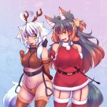 :d animal_costume animal_ears bdsm belt brown_hair christmas garter_straps gradient_hair kuromiya kuromiya_raika multicolored_hair multiple_girls navel open_mouth original pony_girl reindeer_antlers reindeer_costume reins riding_crop santa_costume shiromiya_asuka smile two-tone_hair white_hair yellow_eyes