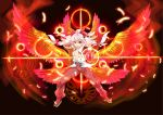 adapted_costume bird bow breasts feathers fire flame fujiwara_no_mokou hair_bow hair_ribbon hakutakuanta highres kamen_rider kamen_rider_ooo kamen_rider_ooo_(series) long_hair navel open_clothes open_mouth open_shirt parody parted_lips phoenix red_eyes ribbon silver_hair smile solo suspenders tajador_(ooo_combo) touhou wings