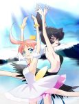 ahiru ahoge armpits ballerina bare_back bare_shoulders black_hair blue_eyes bracelet crown eyelashes fingernails highres huge_ahoge jewelry kappateki lake lipstick looking_at_viewer makeup multiple_girls necklace open_mouth parted_lips pendant pink_hair princess_kraehe princess_tutu princess_tutu_(character) red_eyes rue_(princess_tutu) short_hair sky smile tutu