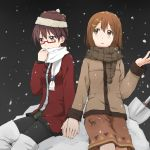 brown_eyes brown_hair glasses hand_holding hat hirasawa_yui holding_hands k-on! kagiana manabe_nodoka multiple_girls ponytail red-framed_glasses scarf short_hair shovel snow winter_clothes worktool