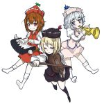 black_legwear blonde_hair blue_eyes brown_hair ginji74 hat instrument keyboard_(instrument) looking_at_viewer lunasa_prismriver lyrica_prismriver merlin_prismriver multiple_girls playing_instrument red_eyes short_hair silver_hair simple_background skirt skirt_set smile socks touhou trumpet violin white_background white_legwear wink yellow_eyes
