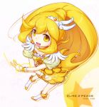 character_name cure_peace dress kise_yayoi long_hair mumyoudou ponytail precure smile smile_precure! solo v very_long_hair yellow_eyes