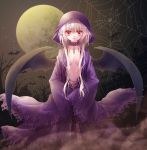 bat_wings blonde_hair breasts choker cloak demon_girl fog full_moon long_hair looking_at_viewer miyu_(botan) moon navel night orange_eyes original payot pointy_ears solo spider_web wings