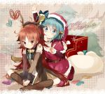 :/ alternate_costume antlers bare_shoulders blue_eyes blue_hair blush boots bow detached_sleeves embarrassed hair_bow hat kneeling long_hair mahou_shoujo_madoka_magica merry_christmas miki_sayaka multiple_girls ponytail red_eyes red_hair redhead reindeer reindeer_antlers sakura_kyouko santa_costume santa_hat shin_(hetaling) short_hair v v_arms
