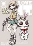 brown_hair bunny chain chains copyright_request english engrish gun heart high_heels highres jewelry necklace original pistol project.c.k. ranguage red_eyes revolver shoes simple_background skirt solo tattoo tongue tongue_out weapon x_x