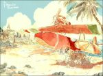 beach beach_umbrella character_name cityscape cloud clouds gori_matsu kurenai_no_buta ocean palm_tree parasol porco_rosso_(character) rock savoia_s.21 sky studio_ghibli title_drop traditional_media tree umbrella watercolor_(medium)